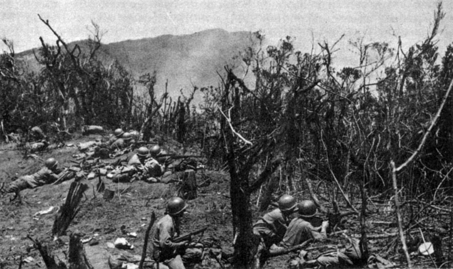 128th infantry entrenched on a hill on the Villa Verde Trail