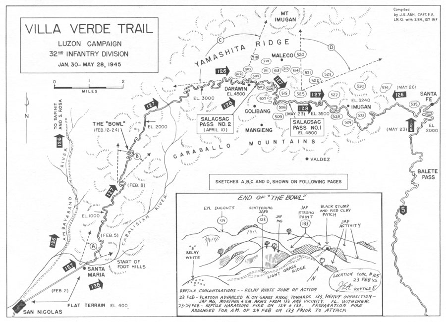 Sketch Of The Villa Verde Trail Drawn By Capt Joseph E Ash Fa Liaison With 2d Bn 127th Inf Capt Ash Was A Wisconsin National Guard Officer